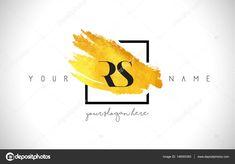 RS Golden Letter Logo Design with Creative Gold Brush Stroke — Stock Illustration Stock Icon, Logo Background, Photography Logos, Gold Logo, Letter Logo, Form, Amazing Photography, Logo Design, Symbols