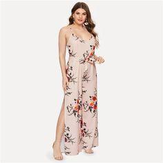 Plus Self Tie Floral Print Cami Jumpsuit Floral Floral Fabric, Floral Tie, Floral Prints, Bohemian Pattern, Plus Size Jumpsuit, Floral Jumpsuit, Boutique, Pink Color, Cami