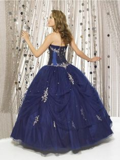 quinceanera dresses | Navy Quinceanera Dress Ball Gown