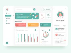 Doctor's personal account - App Design designed by Anastasia. Connect with them on Dribbble; the global community for designers and creative professionals. Dashboard Interface, Web Dashboard, Dashboard Design, Ui Web, User Interface Design, Responsive Web, Web Design, Best Ui Design, Flat Design
