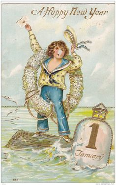 Happy New Year, Boy in sailor outfit holding envelope, standing on log on the ocean, white flower wreath, PU-1908