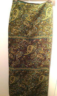 Gypsy Paisley 100% Silk Long Wrap Skirt by Express Size 5/6  $9.99   eBay