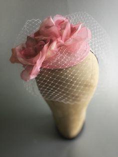 Pink Fascinator Hat Wedding Hat Cocktail Hat by RubyandCordelias