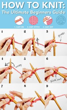 How to Knit for Beginners The Ultimate Guide Knitting boils down to three basic steps Learn how to master them in this detailed video and photo guide and begin your knitting journey howtoknit knittingforbeginners knitting Beginner Knitting Patterns, Knitting Basics, Easy Knitting Projects, Yarn Projects, Knitting For Beginners, Loom Knitting, Knitting Stitches, Knitting Needles, Free Knitting