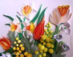 Картина панно рисунок Квиллинг Букет с мимозой Бумага Бумажные полосы фото 10