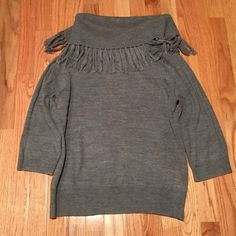 Gray turtle neck fringe sweater Fringe turtle neck- 3/4 sleeves Dress Barn Tops Blouses