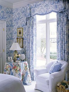 Blue and white, combined with a lovely chintz.  Heavenly!