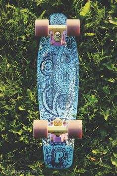 blue, drawing, pastel, penny board, tumblr