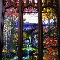 """`.The Detail here is Astounding. Close-up of the detail and colour of """"Autumn Landscape"""" by Tiffany Studios (1923)."""