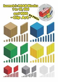 This clip art set has 84 PNGs. Included are MAB blocks 1 to 100 and 1000 drawn from isometric perspective. This is a closer representation of what a student sees of the blocks in reality when compared to an oblique perspective. Math Place Value, Place Values, Math Clipart, School Places, Base Ten Blocks, 2d And 3d Shapes, Teachers Toolbox, Fourth Grade Math, Primary Maths