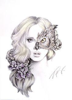 Owl girl - image #3698418 by helena888 on Favim.com