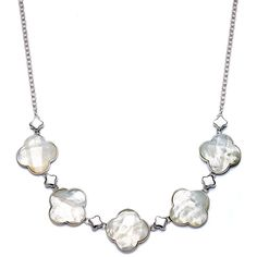 Sterling Silver Necklace, Mother of Pearl Clover Frontal Necklace ($248) ❤ liked on Polyvore featuring jewelry, necklaces, no color, sterling silver jewelry, four leaf clover necklace, sterling silver leaf necklace, sterling silver four leaf clover necklace and leaves necklace
