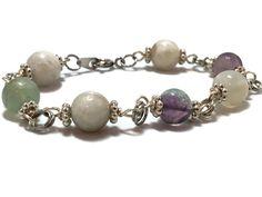 Moonstone & Fluorite Silver Toned Bracelet - Moonstone Bracelet - Fluorite Bracelet - Gemstone Bracelet - Gift For Her - Stocking Stuffer (19.99 USD) by ChesapeakeShoppe