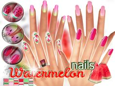 The Sims Resource: Watermelon nails by Pinkzombiecupcake • Sims 4 Downloads