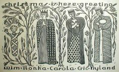 Christmas is Here, Greetings by Ilonka Karasz (1950), Block print with silver ink.