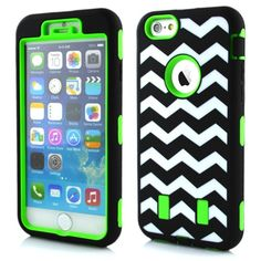 "KINGCOOL Case for iPhone 6 5.5"",Case Cover for iPhone 6 Plus,New Chevron Waves Design 3 Layers Rugged Hybrid Impact Defender Hard Soft Rubber Case Combo(Green) Specially designed for Apple iPhone 6 4.7 inch 2014 release Three layers of defense include a inner silicone layer and two pieces outer polycarbonate shells Provides protection and prevents scratches, chips and dirt from accumulating Made from durable high quality plastic, provides maximum protection for you iPhone"