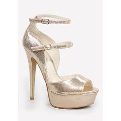 Allice Platform Sandals ($109) ❤ liked on Polyvore featuring shoes, sandals, platform sandals, sexy sandals, high heels stilettos, metallic sandals and peep toe shoes