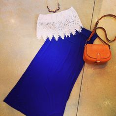 Edge Lace Crop Bandeau and maxi Skirt