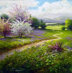 Painting by Gerhard Nesvadba Landscape Art, Landscape Paintings, Beautiful Artwork, Beautiful Places, Nature Paintings, Pictures To Paint, Acrylic Art, Painting Inspiration, Beautiful Landscapes