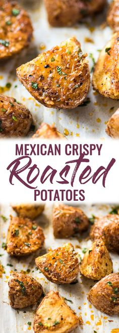 These Mexican Crispy Roasted Potatoes seasoned with chili powder, garlic, sea salt and Parmesan cheese are baked, not fried and are the perfect side to weekday meals. (gluten free, vegetarian) #roastedpotatoes #crispypotatoes | mexican potatoes | easy side dish | baked potatoes | petite red potatoes
