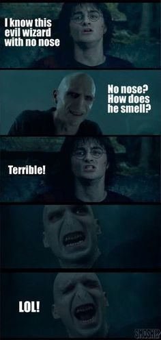 Harry Potter Funnies << HAHAHA,Voldemort probably CAN smell, but this was just too funny to pass up.