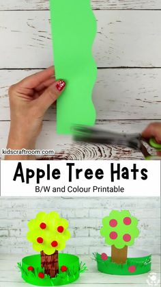 Apple Tree Hats are lots of fun to make and wear this autumn. They've got lots of juicy red apples and sit in a lovely field of textured grass. A great kids craft for apple season! Printable craft template in black and white and colour. #kidscraftroom #applecrafts #autumncrafts #fallcrafts #preschoolcrafts Art Activities For Kids, Fun Crafts For Kids, Preschool Crafts, Preschool Activities, Hat Crafts, Tree Crafts, Craft Stick Crafts, Autumn Crafts, Autumn Art