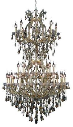 2801 Maria Theresa Collection Large Hanging Fixture D36in H56in Lt:32+2 Gold Finish. 2801 Maria Theresa Collection Large Hanging Fixture D36in H56in Lt:32+2 Gold Finish (Royal Cut Golden Teak Crystals) Watts:Lumens:Lamp Type:Shape:Style:TransitionalLight Bulbs:34Bulb Type:E12Bulb Wattage:40Max Wattage:1360Voltage:110V-125VFinish:GoldCrystal Trim:Royal CutCrystal Color:Golden Teak (Smoky)Hanging Weight:122Case Pack: 1Color: Golden Teak (Smoky)