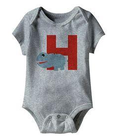 Look what I found on #zulily! Heather Gray 'H' Hippopotamus Bodysuit - Infant #zulilyfinds