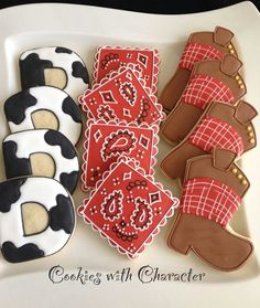 cowboy boots, cow print and handkerchief cookies-- a little girls cow girl or cowboy party. I can't wait to party with my kids!!