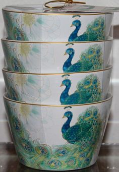 222 FIFTH SET OF 4 DESSERT LAKSHMI APPETIZER FINE CHINA PEACOCK ROUND PORCELAINE #222FIFTH