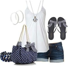 Cute Beach Outfit <3 With jean skirt.