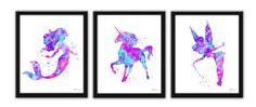 Fairy tale art Unicorn print pink purple aqua by FluidDiamondArt