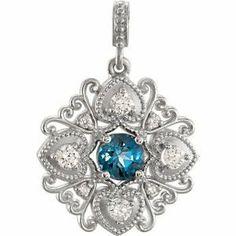 Genuine IceCarats Designer Jewelry Gift 14K White Gold Gemstone Necklace. Pendant Genuine London Blue Topaz And Diamond Penant Gemstone Necklace In 14K White Gold by IceCarats, http://www.amazon.ca/dp/B00CF5MXVM/ref=cm_sw_r_pi_dp_YRY0sb0WE8H8K