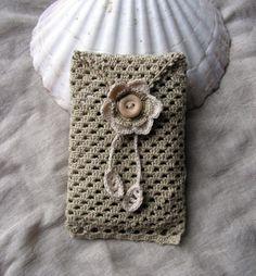 Soft Sand cell phone cozy lacy crochet sleeve by hypericumfragile, $17.00