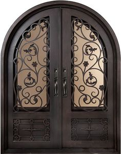 62x98 Blossom Iron Double Door. Beautiful wrought iron front entry door with grille from Door Clearance Center.