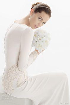 rosa clara 2014 coral long sleeve wedding dress beads buttons close up