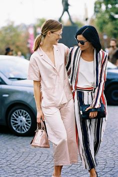 Best dressed, best friends. / Fashion week street style.