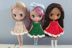 3 Pack Of Christmas Crochet Cupcake Petite Blythe by bearlydressed, $15.00