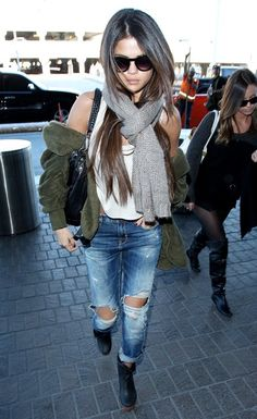 Selena Gomez street style with ripped jeans