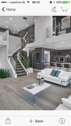 modern interior silver white sofa tall chairs tv stairs elegant floor plants modern lamps small table of Modern House Interior Design Ideas for Your Home Living Room Modern, Home And Living, Living Room Designs, Cozy Living, Living Area, Small Living, Grey Walls Living Room, Contemporary Living Rooms, Living Room Decor Elegant