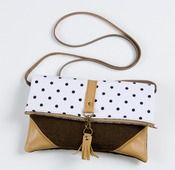 Made By Hank | Foldover crossbody bag in vintage black + white polka dots with leather corners + tassel