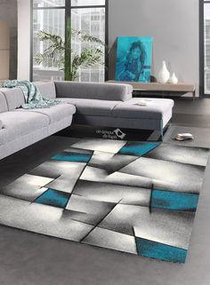 impressionnant tapis gris et turquoise