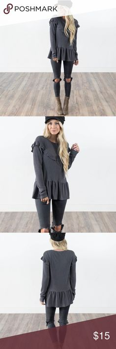 Stevie Hender Peplum Ruffle Long Sleeve Stevie Hender (Shop Stevie) Peplum Ruffle Long Sleeve Top, size small. Only worn twice. Gray/purple color, ribbed material with a lot of stretch. Francesca's Collections Tops Tees - Long Sleeve