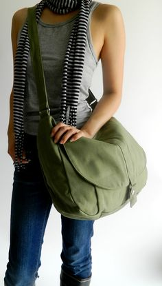 Back to School SALE -  Kylie in smoke green / Messenger style. $42.00, via Etsy.