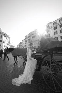 Elegant vintage wedding dress with long train #InbalDror #Wedding #Dress