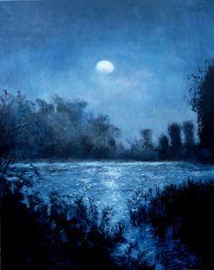 Un cuadro al oleo de un claro de luna en Isla Cristina, Huelva. Un cuadro de estilo impresionista muy luminoso de ambiente nocturno.