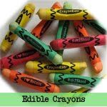 Edible crayons: Pretzel rods, different colored chocolate (buy diff. colored wafers or use food coloring), paper wrappers.