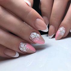 Es wurde 1 bis 10 Mal im Monat zuvor . - nails - - New Ideas Perfect Nails, Gorgeous Nails, Perfect Pink, Bride Nails, Wedding Nails, Flower Nail Designs, Nail Art Designs, Nail Art Tropical, Cute Nails