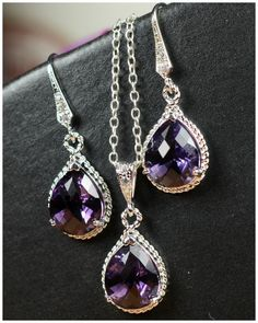 Bridesmaid jewelry Purple amethyst silver Earrings & Necklace SET ,Drop, Dangle, Glass Earrings, bridesmaid gifts,Wedding jewelry. $49.99, via Etsy.