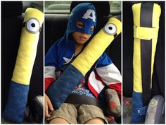 Despicable Me Minion Inspired Seatbelt Pillow by ISewforJoy www.facebook.com/isewforjoy